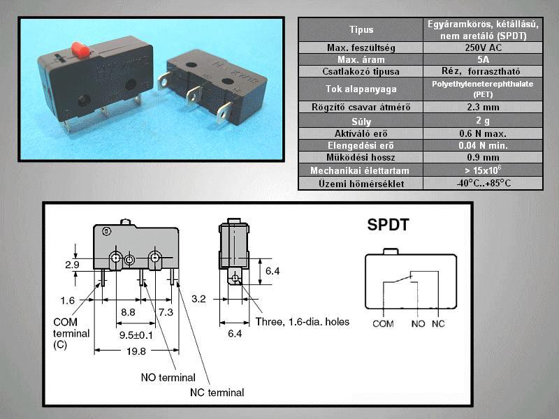 Mikrokapcsoló 5A 250Vac ON-(ON) 3p. 20x10x6.4mm SW11502B