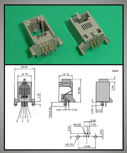 Telefon aljzat 6/6 MAXI műanyag CSAT-T013-1