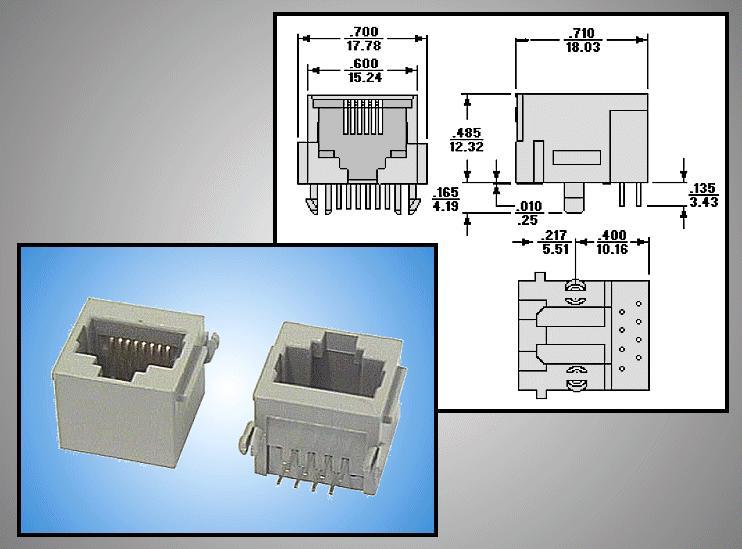 Telefon aljzat 8/8 (RJ45) műanyag CSAT-T014