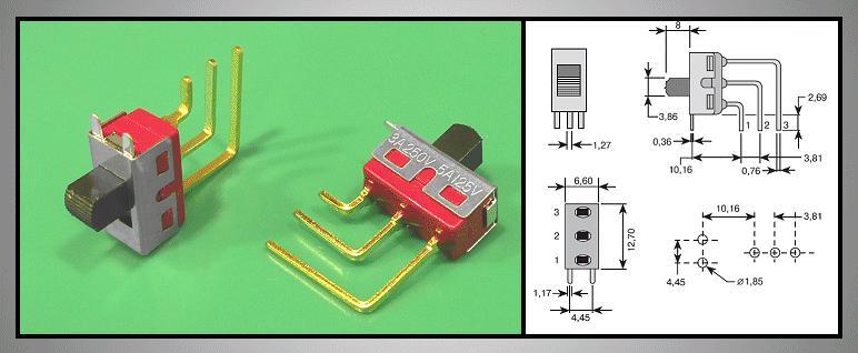 Toló kapcsoló PCB 1x3p.12.7x6.6mm (1 áramkörös) SW18002PV