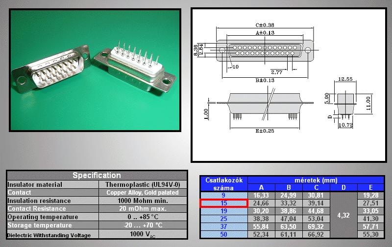 D-SUB 15p. dugó PCB CS-DS015P/2/N