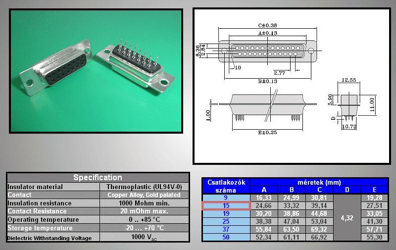 D-SUB 15p. aljzat PCB CS-DS015S/2/N