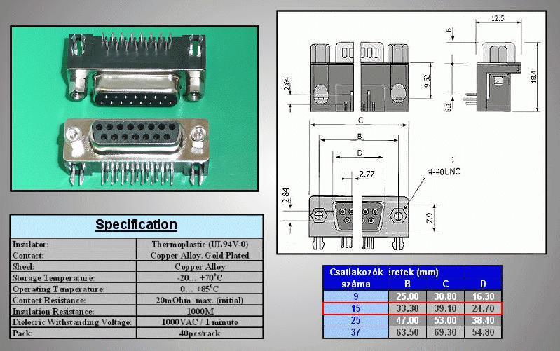 D-SUB 15p. aljzat PCB 90° CS-DS015S/2/N90