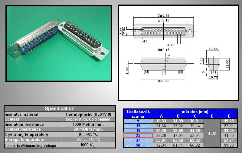 D-SUB 25p. dugó PCB CS-DS025P/N