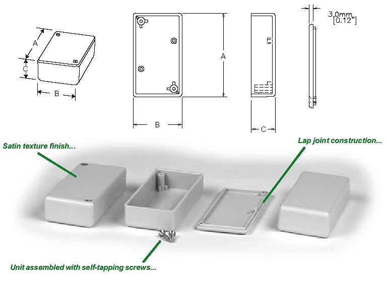 UNIVERSAL BOX 50x35x17mm szürke BOX HM1551GGY