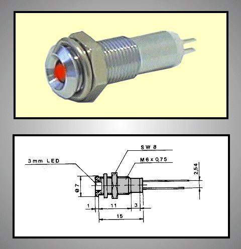 LED foglalat 3mm, krómozott RTM-3030