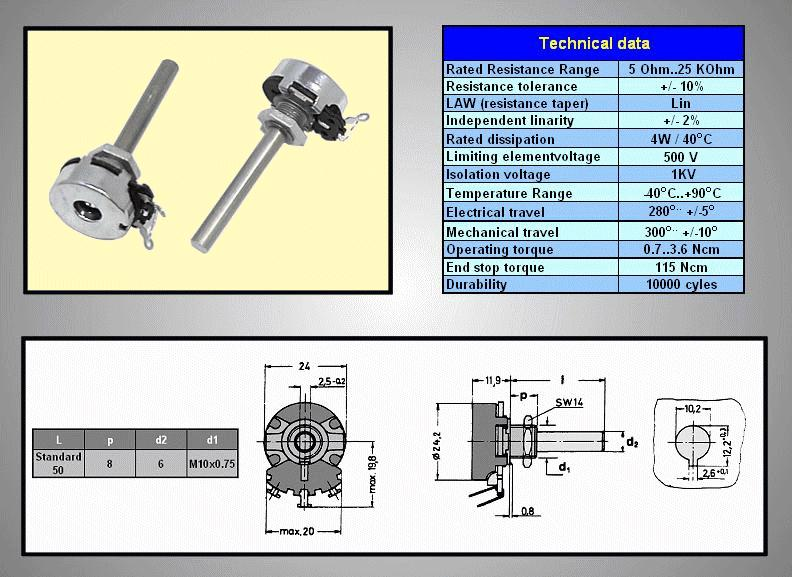 Potméter mono lineáris 6mm 220R 10% 4W POT.4W 220R -