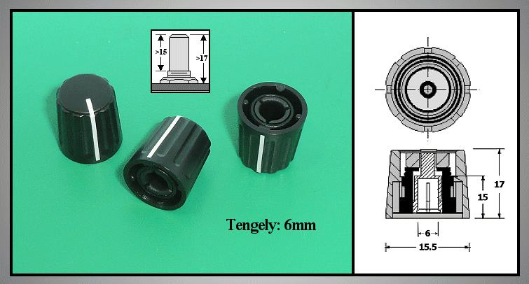 Potméter gomb 17x15.5mm POT-KNOB01/15B