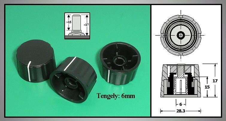 Potméter gomb 17x28.5mm POT-KNOB01/28B