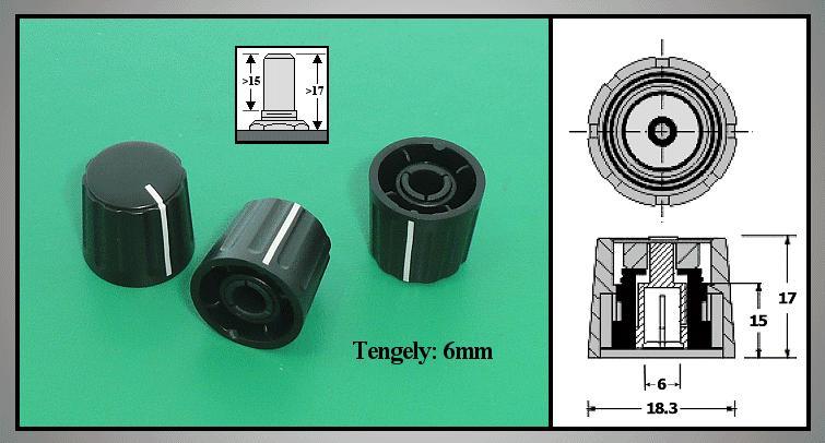 Potméter gomb 17x18.5mm POT-KNOB01/18B