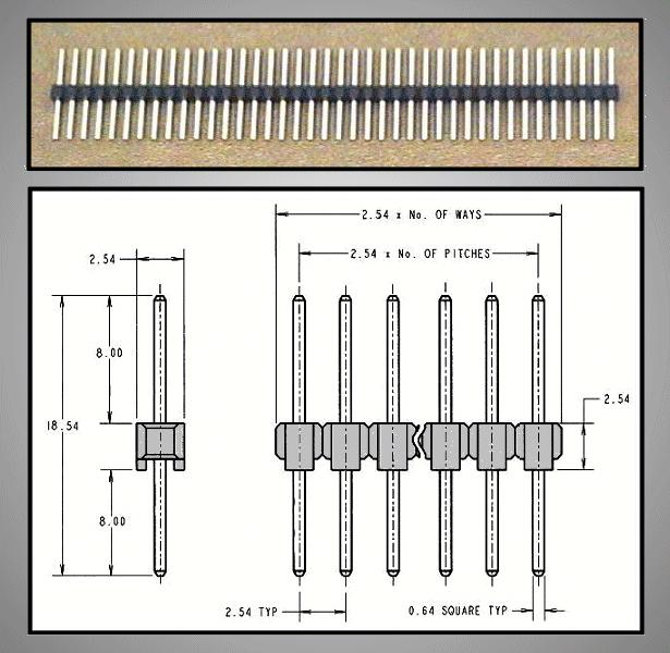 Egysoros tüskesor 2.54 1x40p.8/ 8mm0.64 STSF 40P 8/08