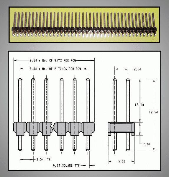 Kétsoros tüskesor 2.54 2x40p.3/12mm 0.64 STSF 80P2 3/12