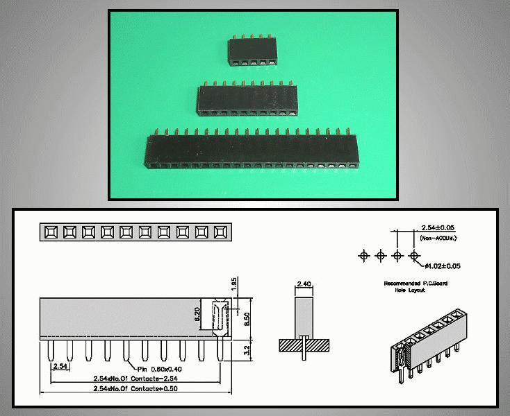 Egysoros csatlakozó aljzat 3p. táv. 2.54mm CSAT-11003/A