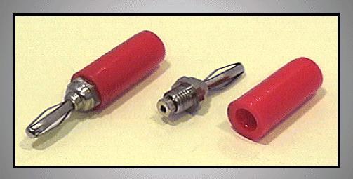 4mm banándugó piros (lemez rugós) CSAT-B002/R