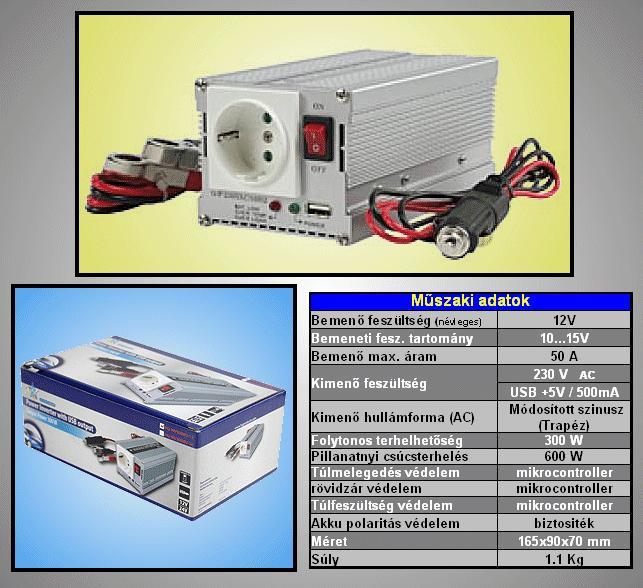 12VDC -> 230VAC 300W inverter +USB (trapéz) P.SUP.INV0300W1