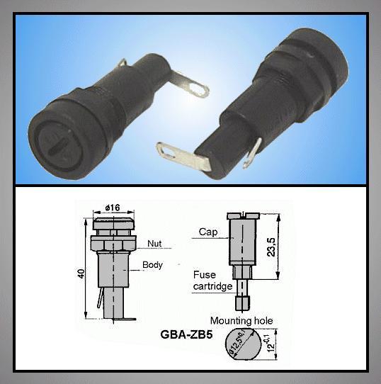 Biztosíték tartó 5x20mm Csavaros (ZB5) ZH6/Z12