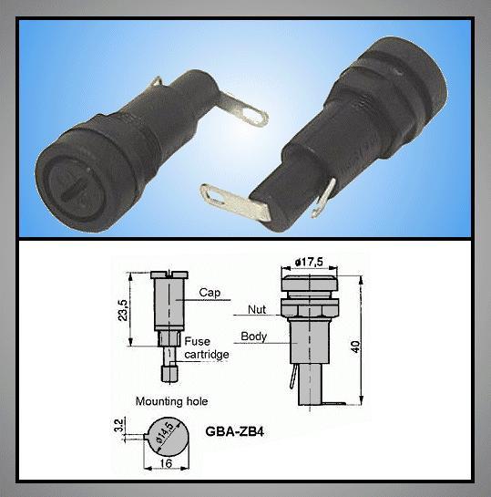 Biztosíték tartó 5x20mm Csavaros (ZB4) ZH6/Z14