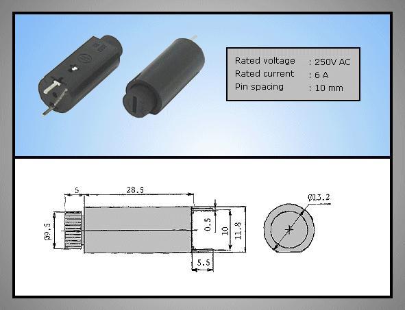 Biztosíték tartó 5x20mm 250V 6A PCB 2p, ZH7/06V