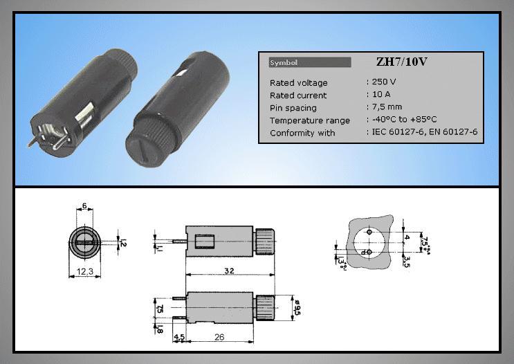 Biztosíték tartó 5x20mm 250V10A PCB 2p, ZH7/10V