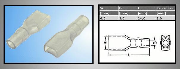 Hüvely szigetelő 6.3 hüvely szigetelő d:3mm L:24mm CS-K1630001