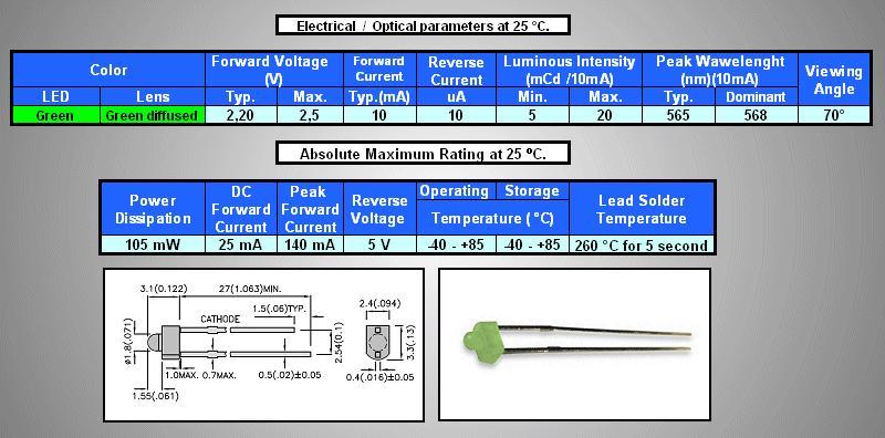 LED1.8mm zöld, diffúz 5...20mcd LED1.8 G 0020