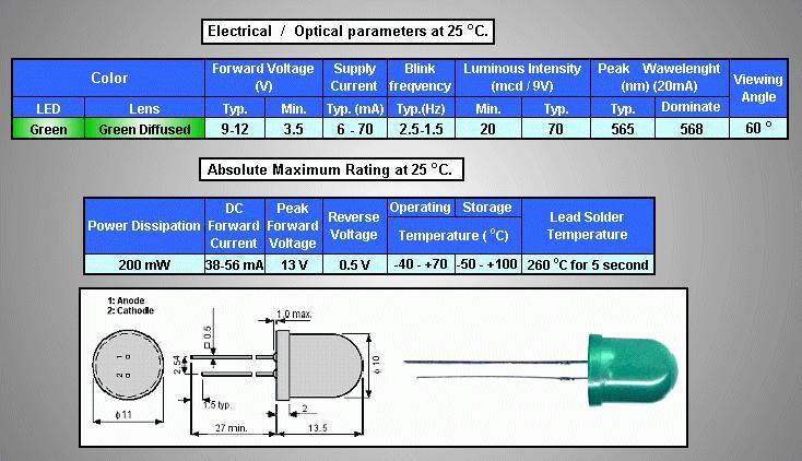 LED10mm villogó, zöld, diffúz 20...50mcd LED10 G BLINK