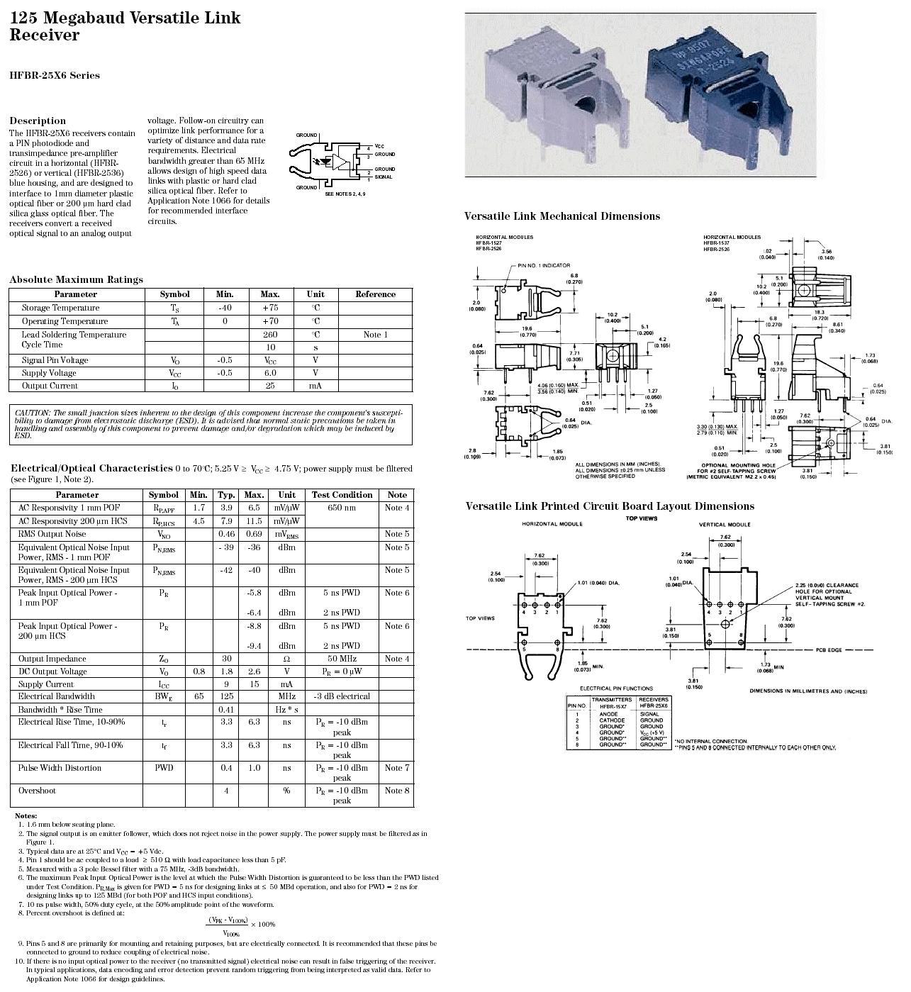 Optikai adó 5MBd Toslink HFBR2526