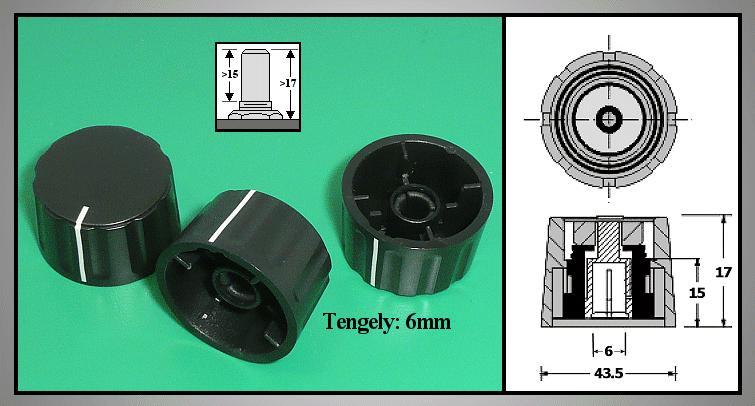 Potméter gomb 17x43.5mm POT-KNOB01/43B