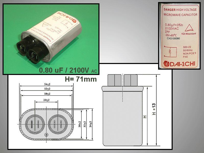 H.V. kondenzátor 0.80uF 2100VAC MW-C0.80