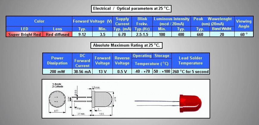 LED10mm villogó, szuper piros, diffúz 100...400mcd LED10 R BLINK-B