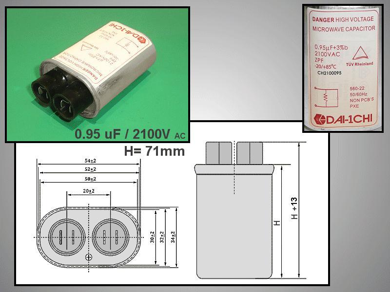 H.V. kondenzátor 0.95uF 2100VAC MW-C0.95