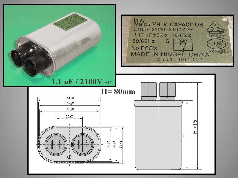 H.V. kondenzátor 1.10uF 2100VAC MW-C1.10
