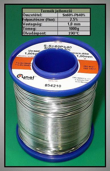 Forrasztó ón 1mm Sn60/Pb40% 1kg Flux 2.5% TIN 1000GR 1.0/2.5