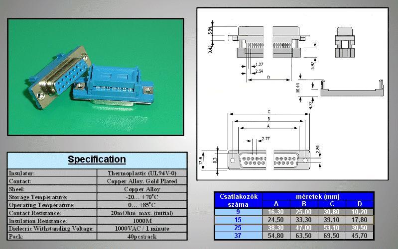 D-SUB 15p. aljzat, 1,27mm-es szalagkábelre CS-DS015S/2/S