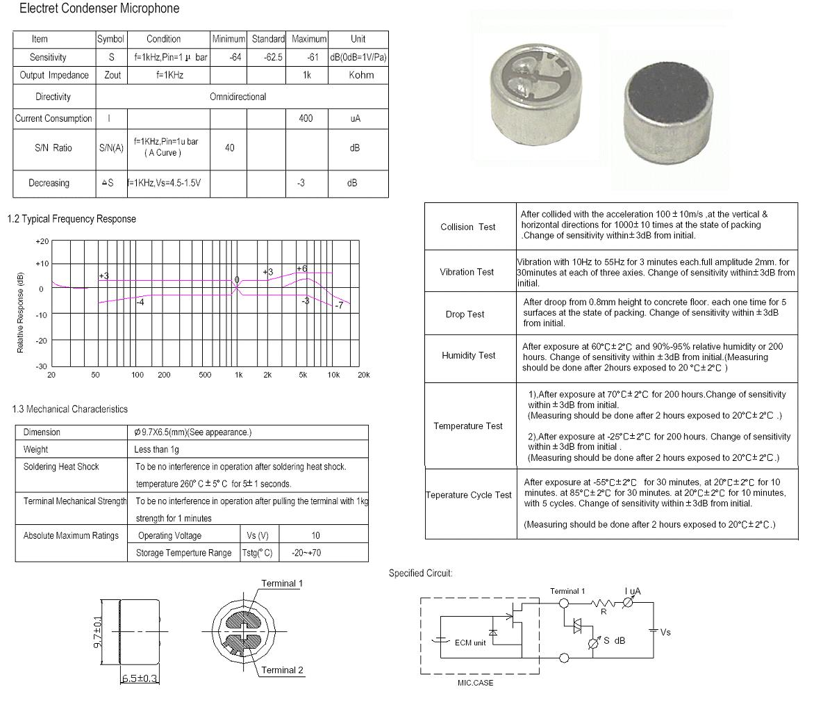 Kond. mikrofon 62.5dB (forr.) MIKROFON 01/63