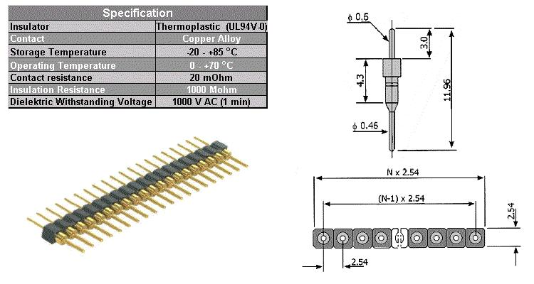 20 PIN SEPARATED 0.46/0.6mm IC-P 20P