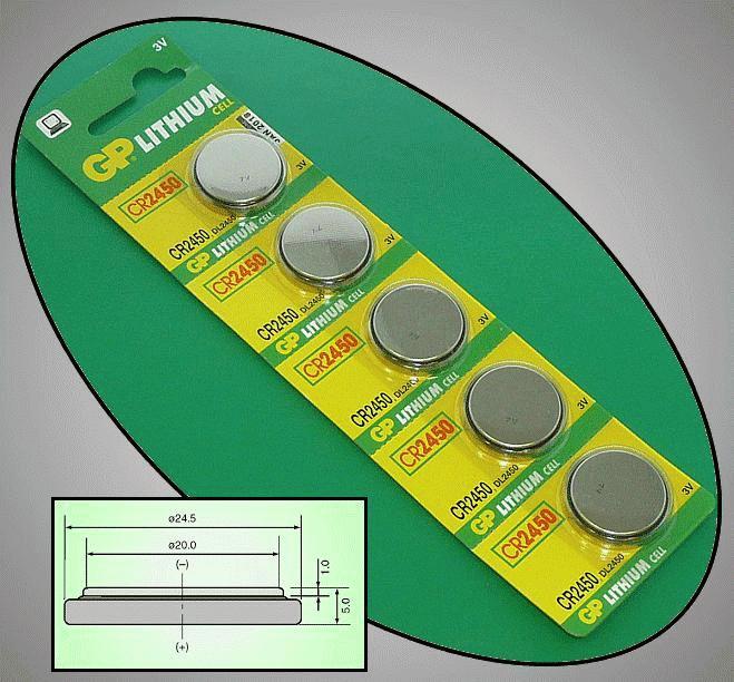 3V 610mAh lítium elem GP CR2450-C5 BAT CR2450