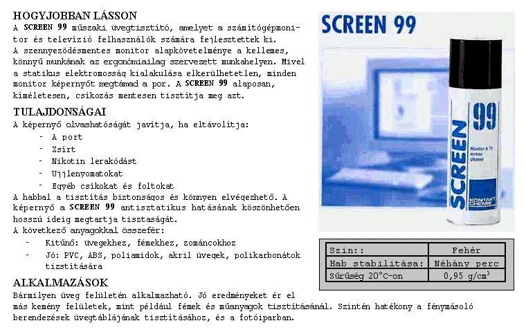 SPRAY: Képernyő tisztító 200ml SCREEN 99 99/200