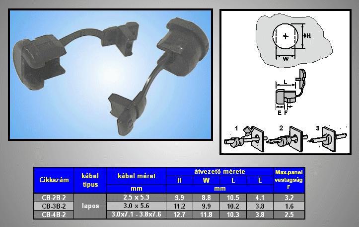 Kábel kivezető és rögzítő 2,3x4,5 - 2,8x5,3mm CB-2B-2