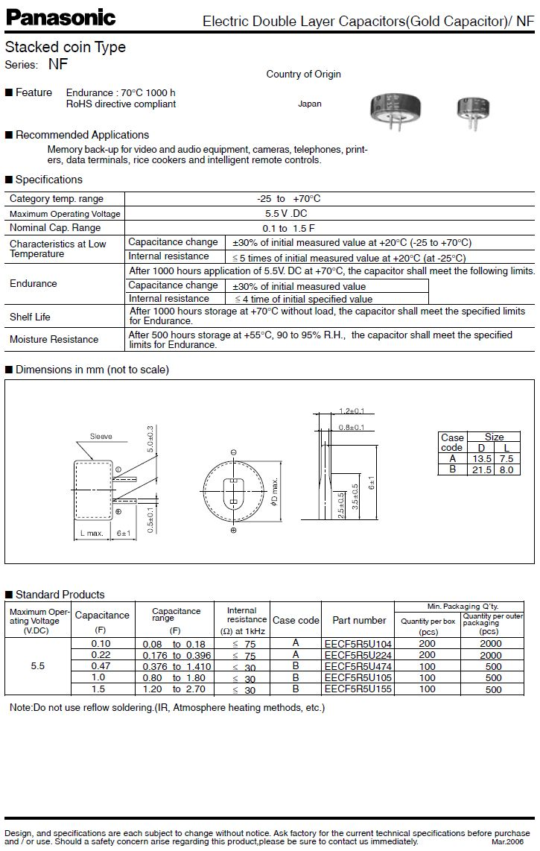BACK UP kondenzátor 1.5F 5.5V RM-5 (fekvő) BUC-1.5F-H -