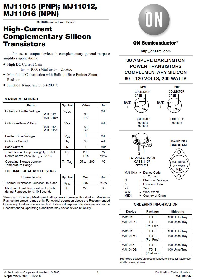 Tranzisztor PNP Darlington+D 120V 30A 200W 4MHz MJ11015G MJ11015G -