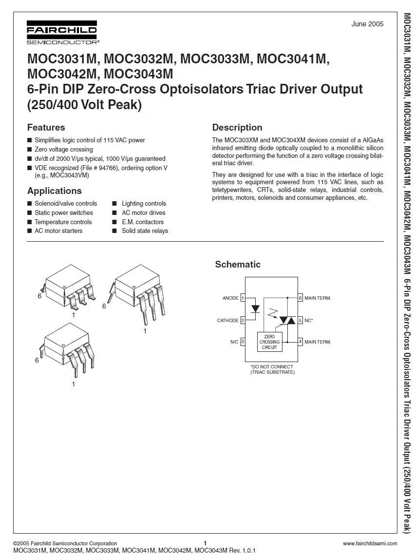 OPTO-COUPLER TRIAC-OUT DIP 6p. MOC3041M -