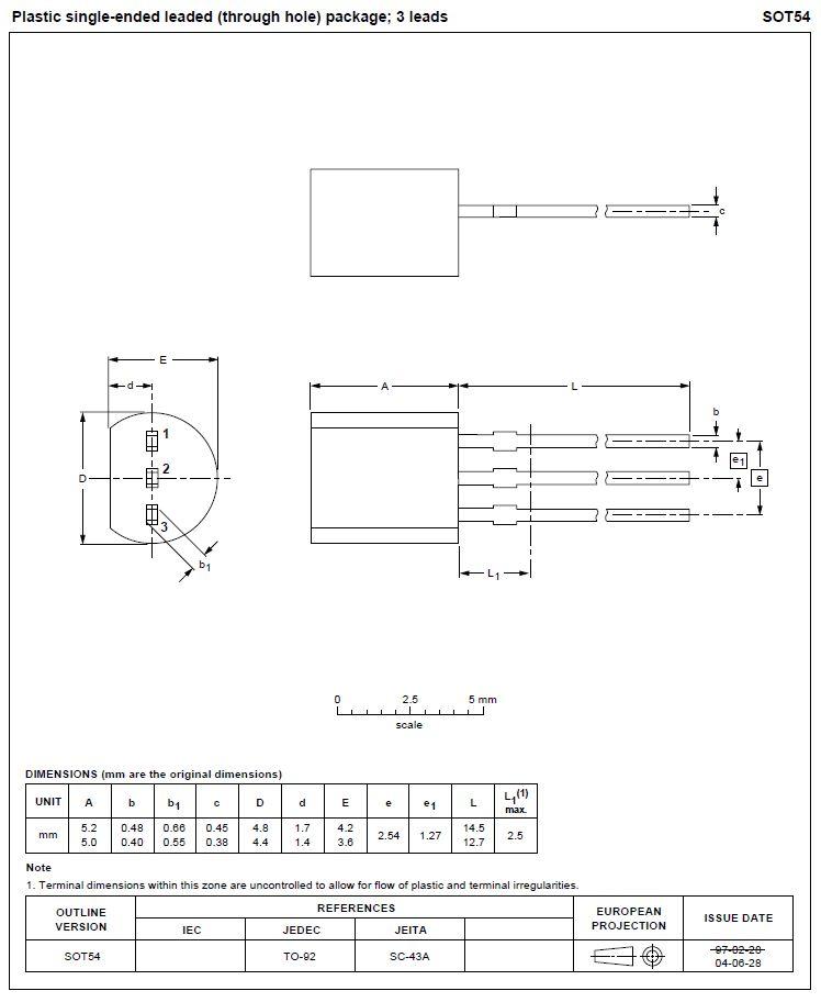 TRIAC 600V 1A Igt/Ih<10/10mA TO92 Z0109MA -
