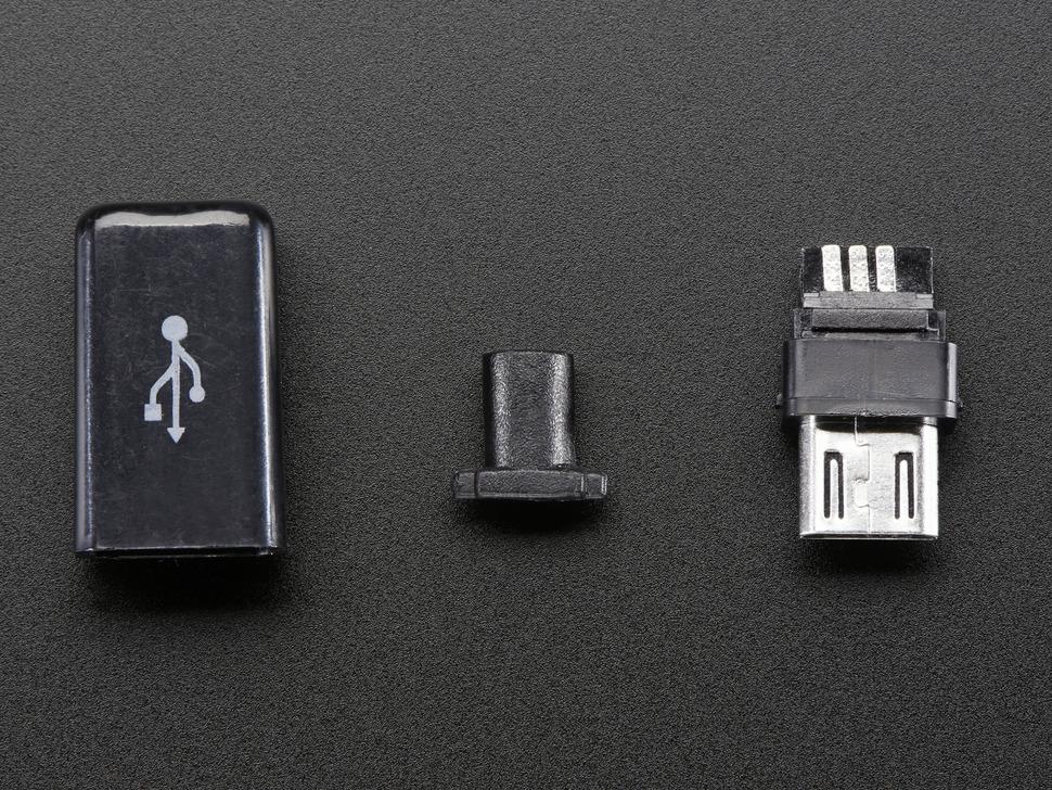 Lengő forrasztható MicroUSB-B dugó fekete házzal CSAT-USB-MIC/B PLUG2