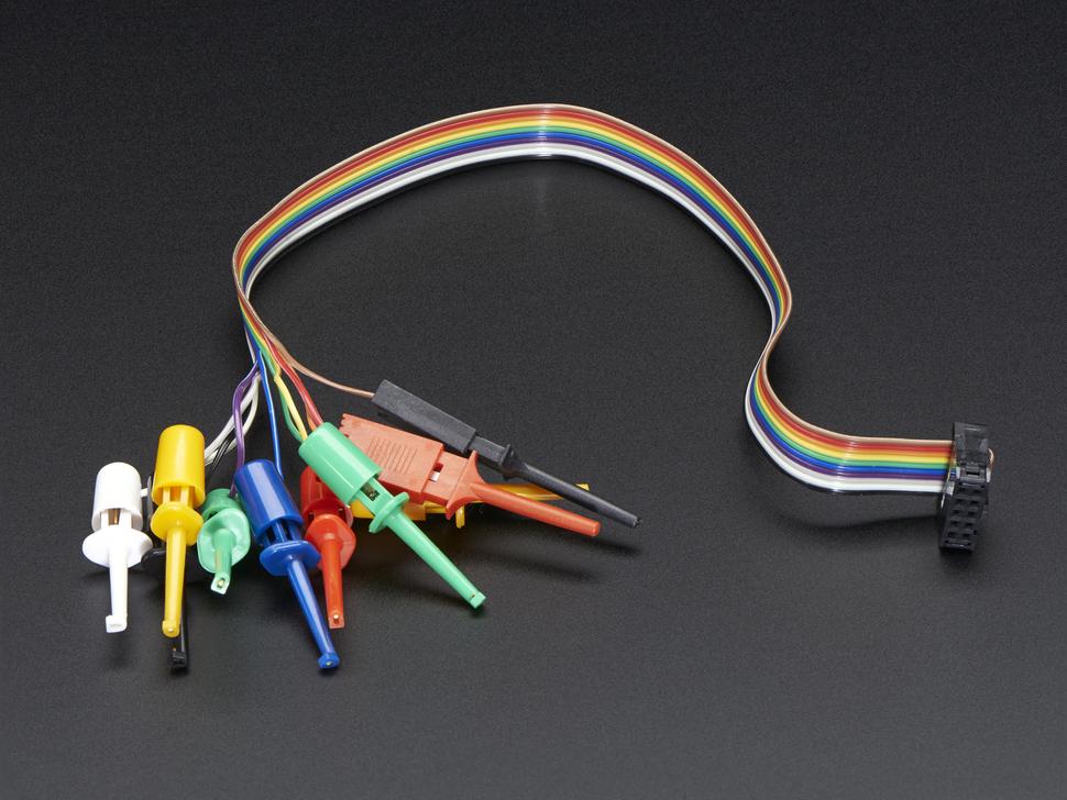 10 pólusú teszt kábel Kleps csipeszekkel IDC 10p csatlakozóval. DEV PROBESET IDC10P