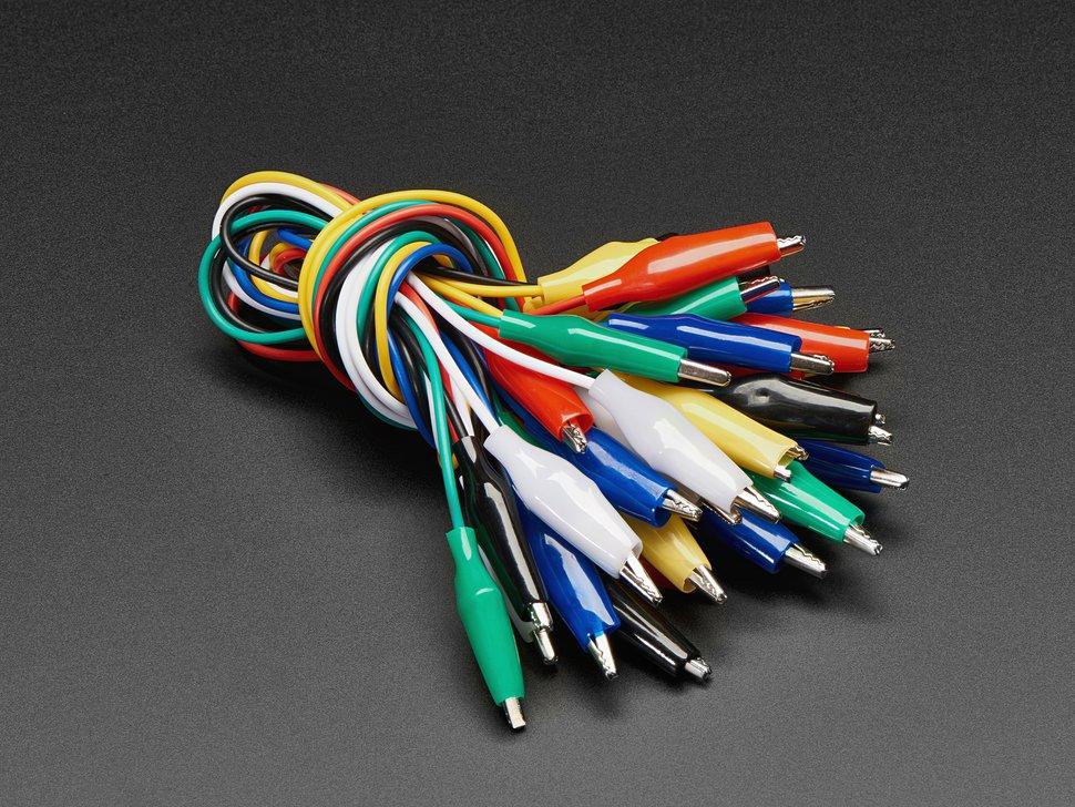 40cm krokodilcsipeszes kábel készlet 18db vegyes szín DEV CABLE ALIGATOR 01