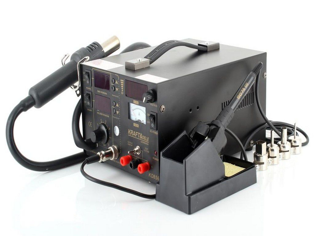 Analóg szabályzású hőlégfúvó-páka-labortáp az egyben állomás Kraft & Dele KD856 SOLD.KD856