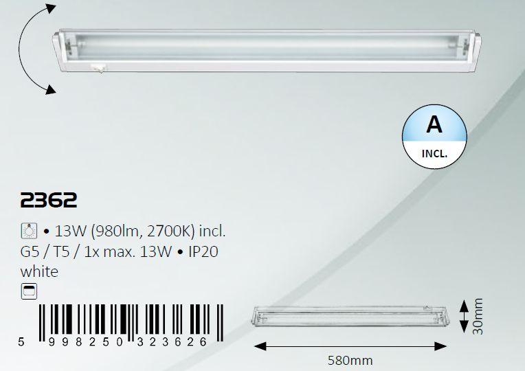 230V 13W G5/T5 2700k fehér, 58cm, pultmegvilágító lámpa LAMP 00003W-580 -