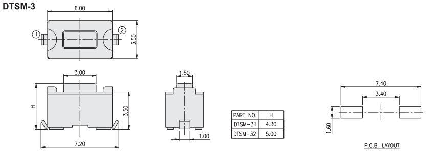 Mikrokapcsoló 6x3.5mm 2p. SMD gomb:1.5mm (nyomó erő:160g) SW100632/015-SMD -