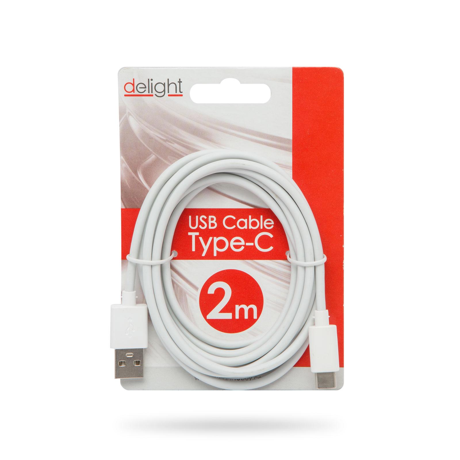 USB2.0-A dugó - USB-C dugó, kábel 2.0m, fehér CABLE USB-MIC/CA2.0